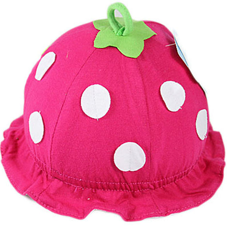 Hot Pink Strawberry hat for baby (3-18 months)