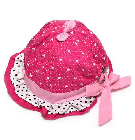 Hot Pink cotton bucket cap for girls (10 - 24 months)