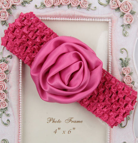 Rolled up Rose on crochet - Hot Pink