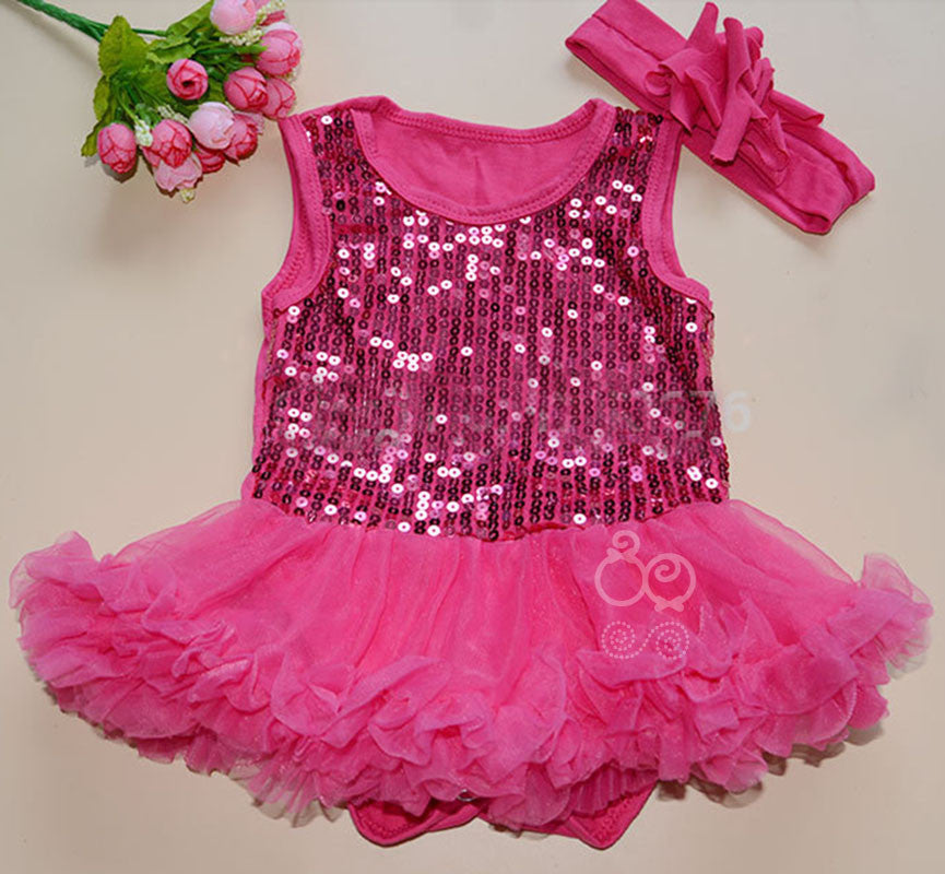 Hot Pink sequinned tutu romper with matching headband