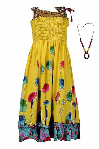 Strappy Summer Dress - Yellow