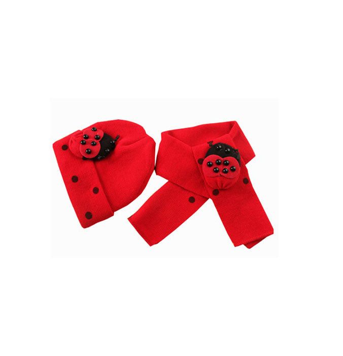Red Ladybug scarf and cap set (1-4 years)