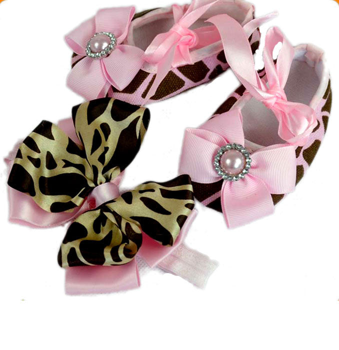 Pikaboo Newborn baby Headband baby Shoes combo - pink leopard
