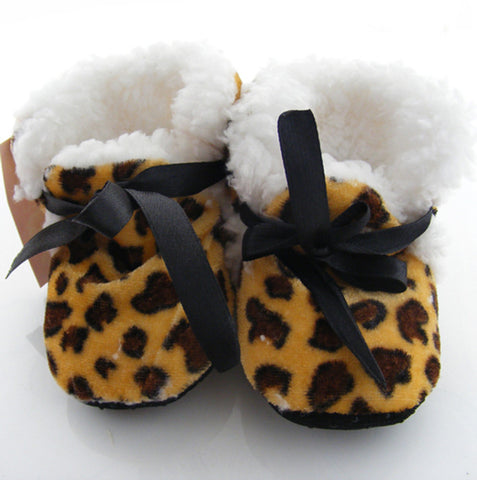 Leopard print Winter booties for infants (4-10 months)