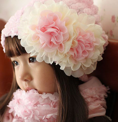 Pink chiffon flower hat for girls