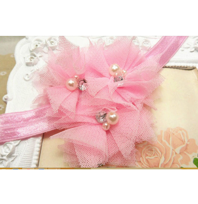 Triple Tulle Bling Headband - Light Pink
