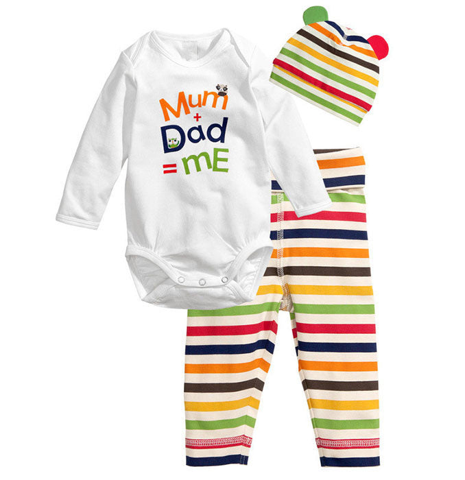 Mum and dad baby romper with pajamas and cap set