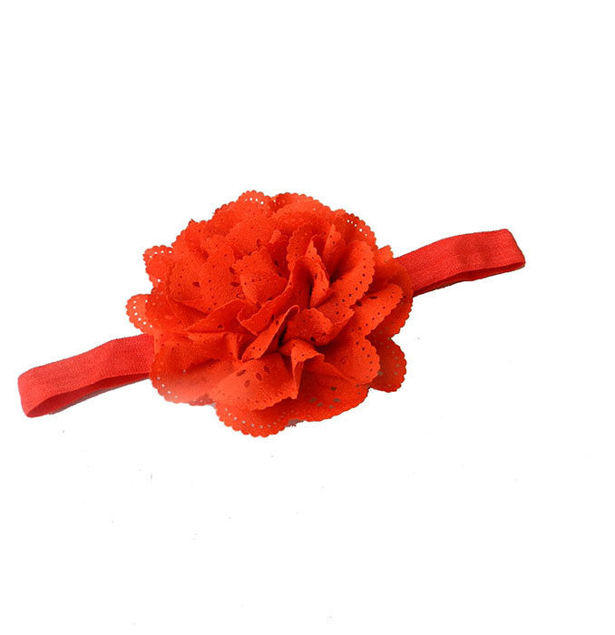 Cut Work Big Flower Headband - Orange