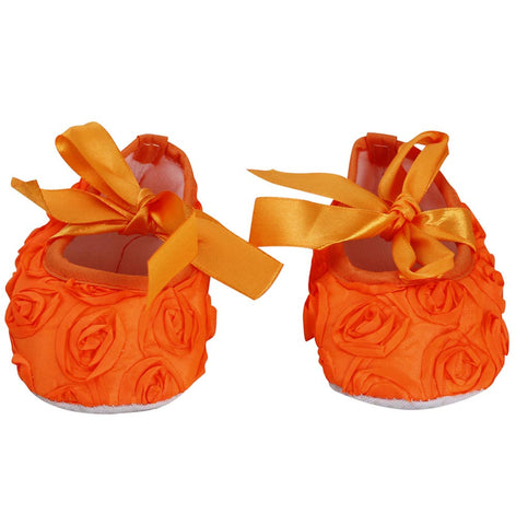 Orange roses crib shoes
