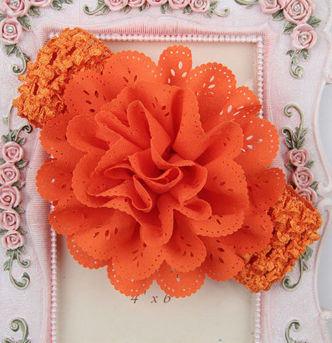 Crochet cutwork flower headband - Orange