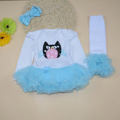 Owl character sea blue tutu romper with legwarmers and headband (0-1 year)