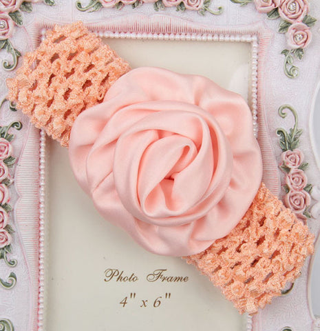Rolled up Rose on crochet - Peach
