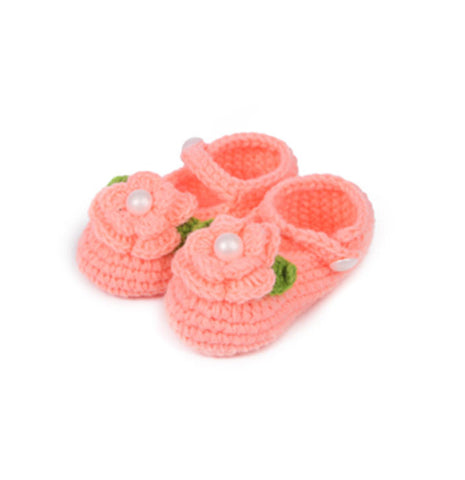 Peach Crochet Baby booties (2-8 months)