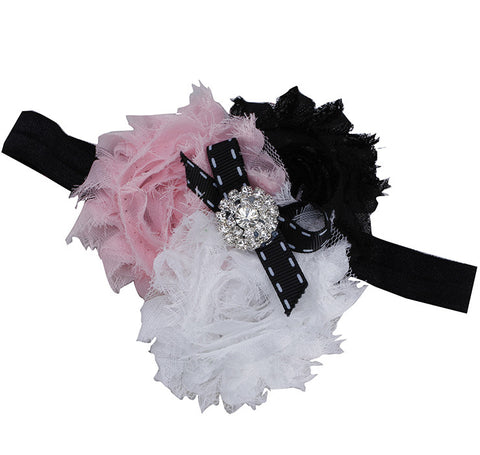 Three Color Blossoms headband - Pink Black