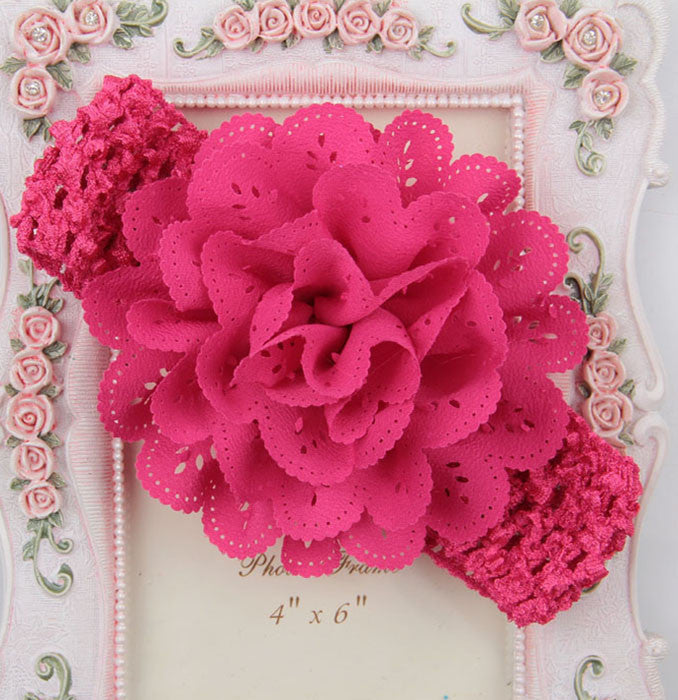Crochet cutwork flower headband - Pink