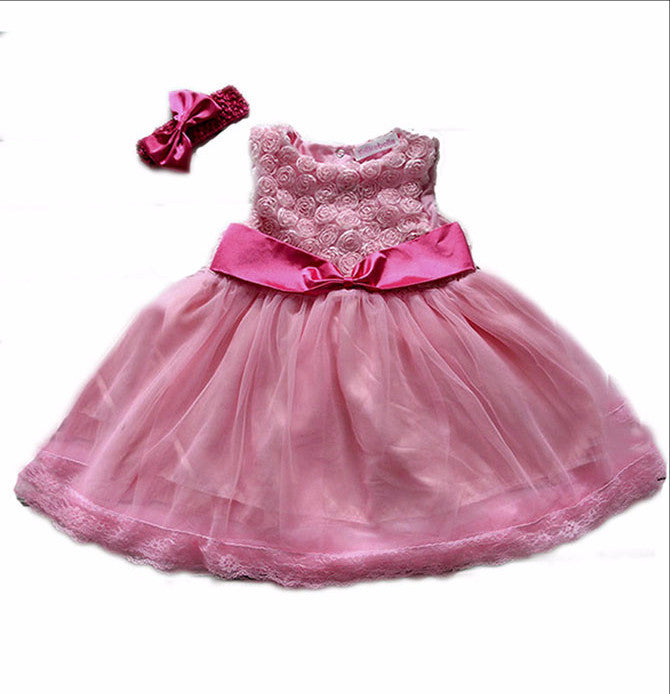 Pretty in Pink Rosette party dress with matching headband
