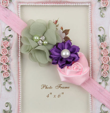 Multicolor flowers headband - Pink Purple