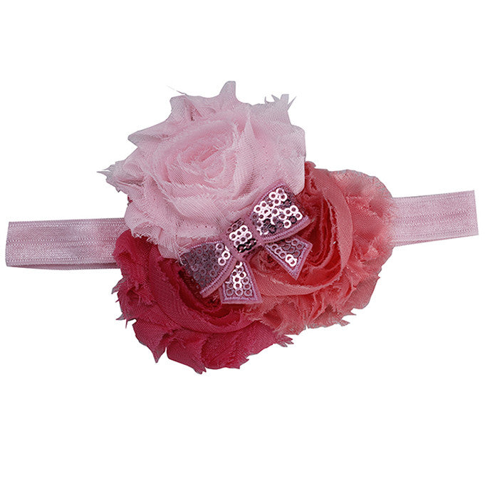 Three Color Blossoms headband - Pinks