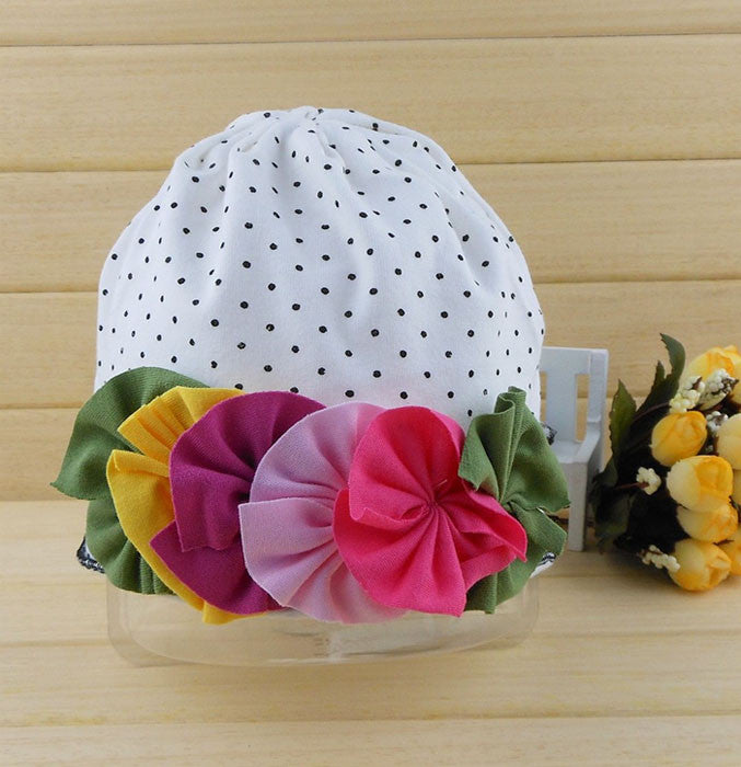 White polka dot floral cotton cap for girls (6 - 24 months)