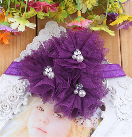 Triple Tulle Bling Headband - Purple