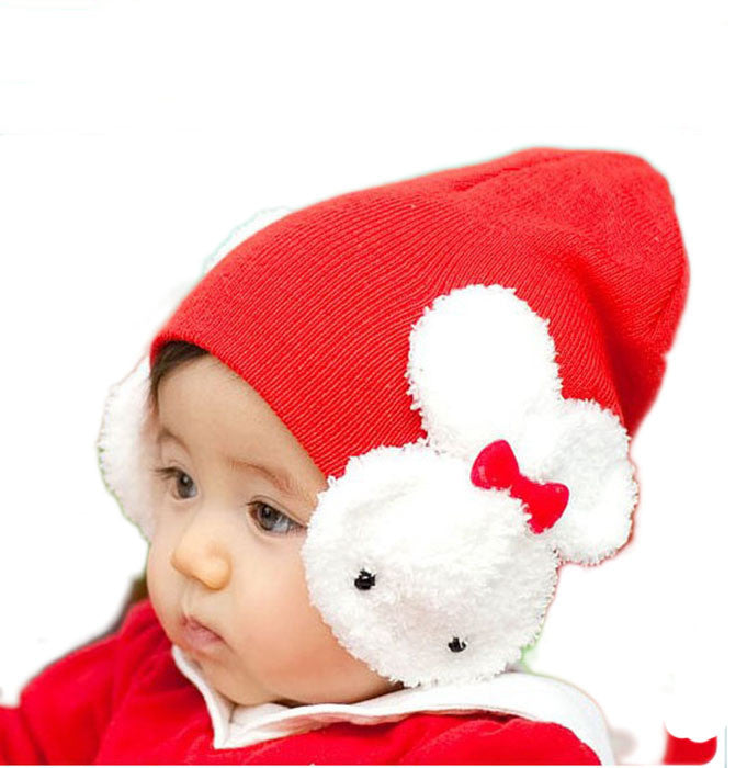 Red rabbit baby cap (6 - 24 months)