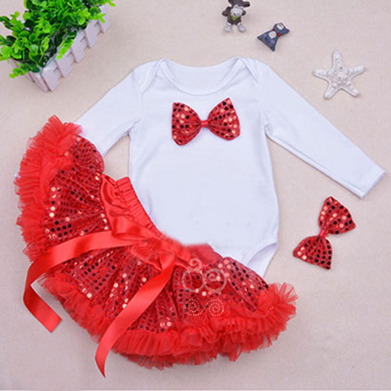 Red Bow Top and Sequinned Skirt