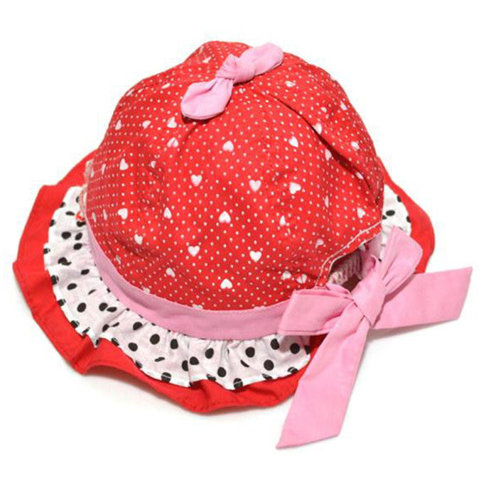 Red cotton bucket cap for girls (10 - 24 months)