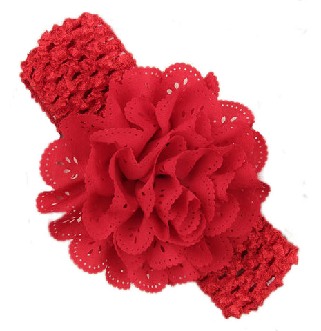 Crochet cutwork flower headband - Red