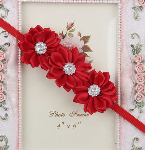 Triple crystal flower - red