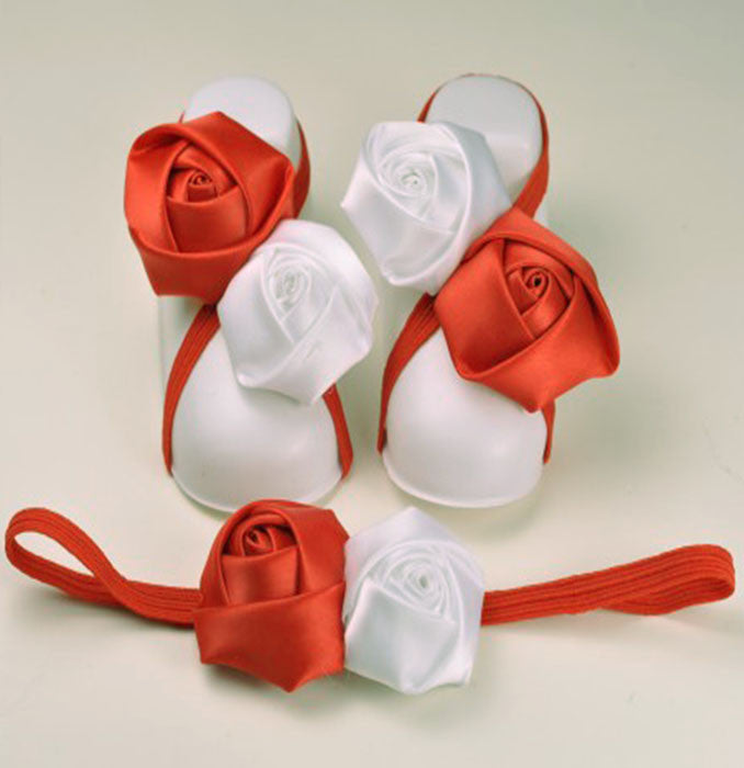 Pikaboo infant Roses slip on shoes headband combo - Red