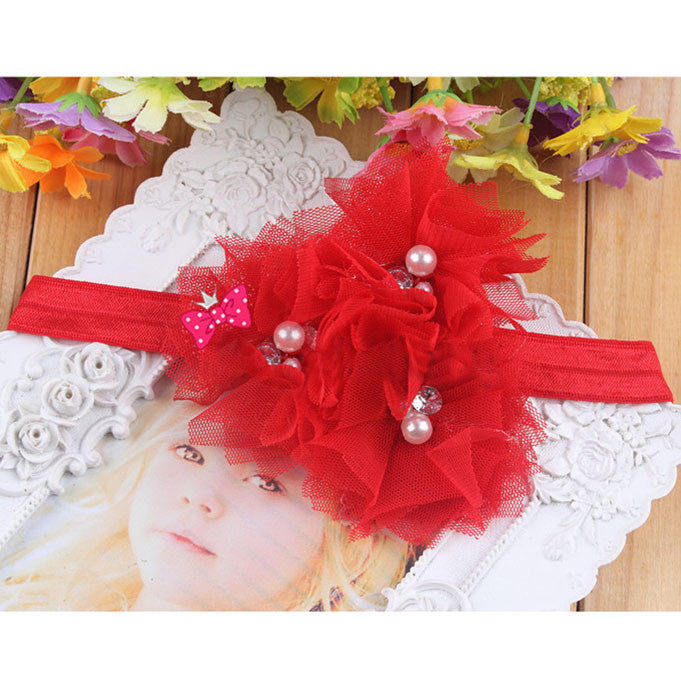 Triple Tulle Bling Headband - Red