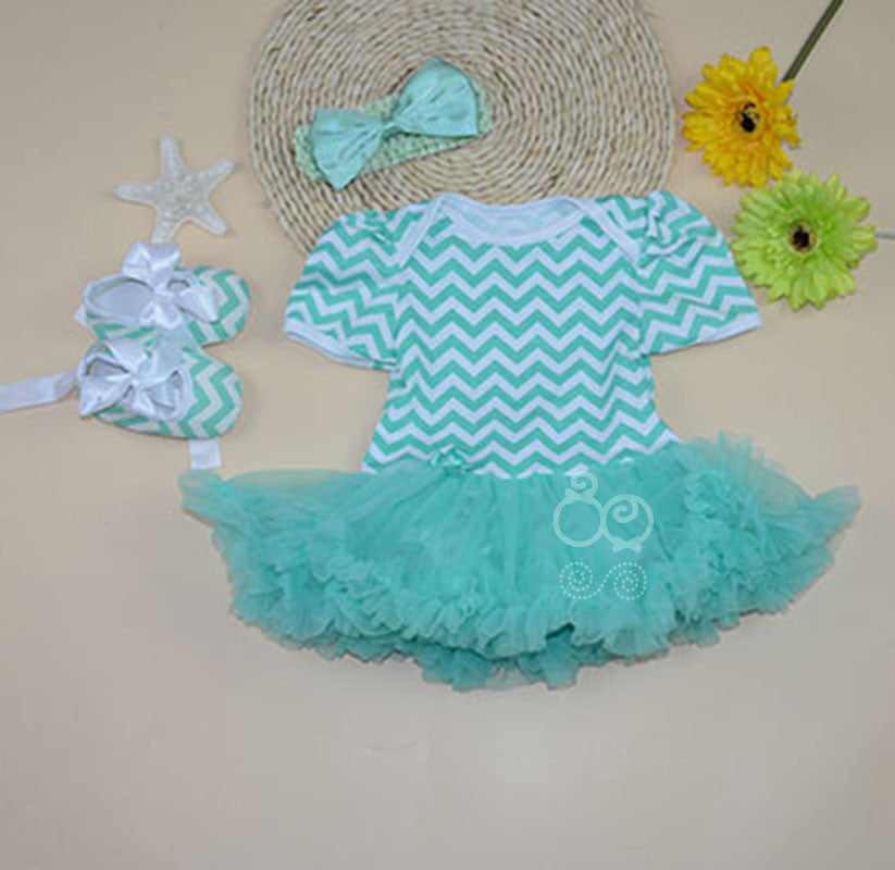 Sea Green Tutu Romper dress with shoes and headband