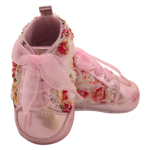 White Pink lace cut shoes for girls