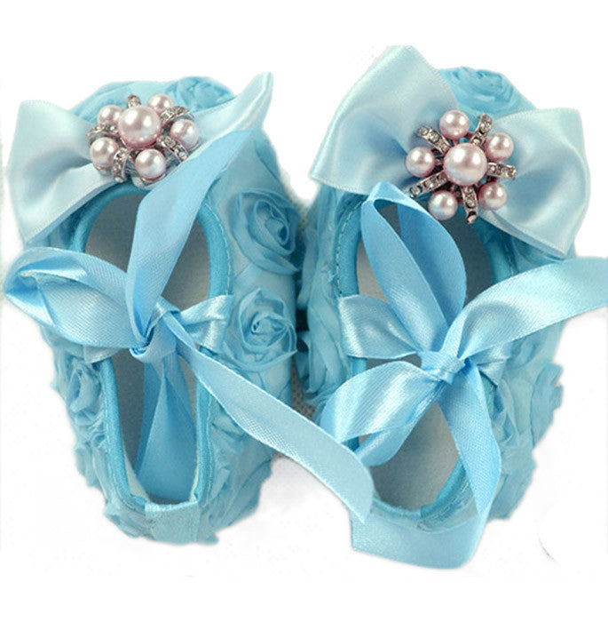 Crystal bow rosette Crib Shoes - Sky Blue