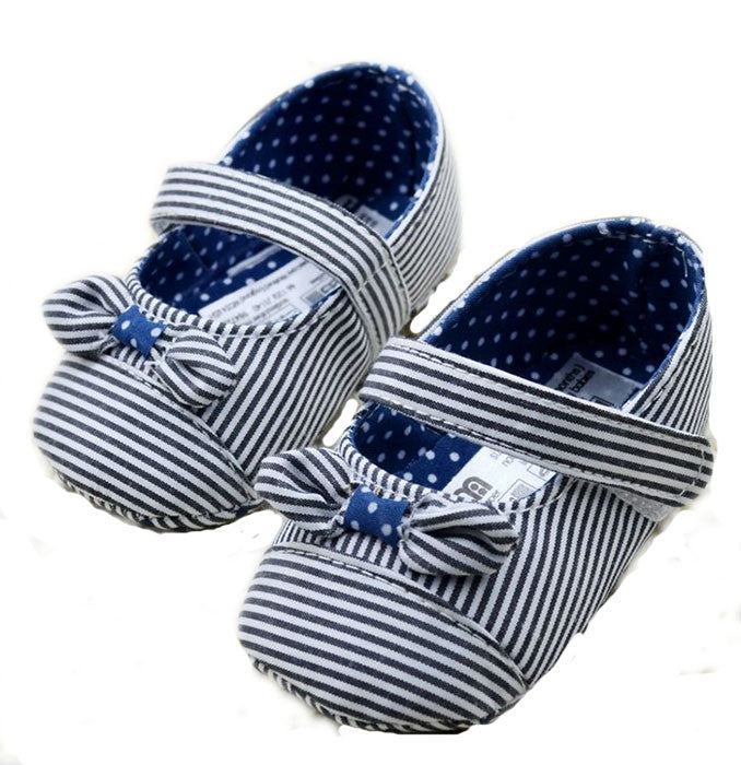 Striped Navy prewalker shoes with bow knot