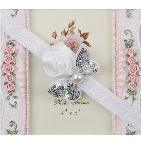 Sequin Bow with Rose Flower Headband - White
