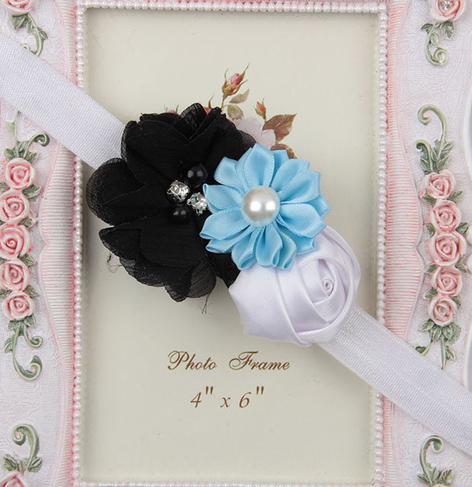 Multicolor flowers headband - White Black