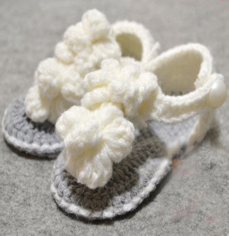 Crochet Baby Shoes White Grey