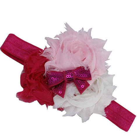 Three Color Blossoms headband - White Pink