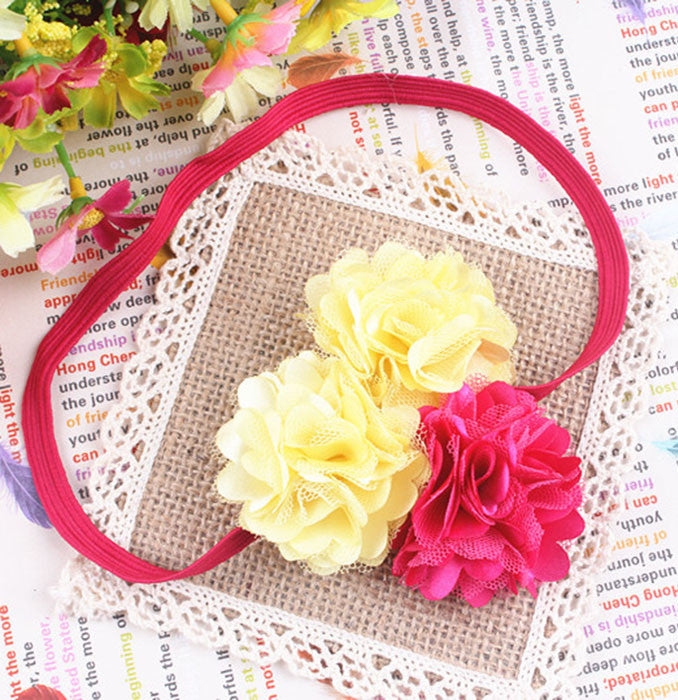 Three pretty flowers headband YellownPink