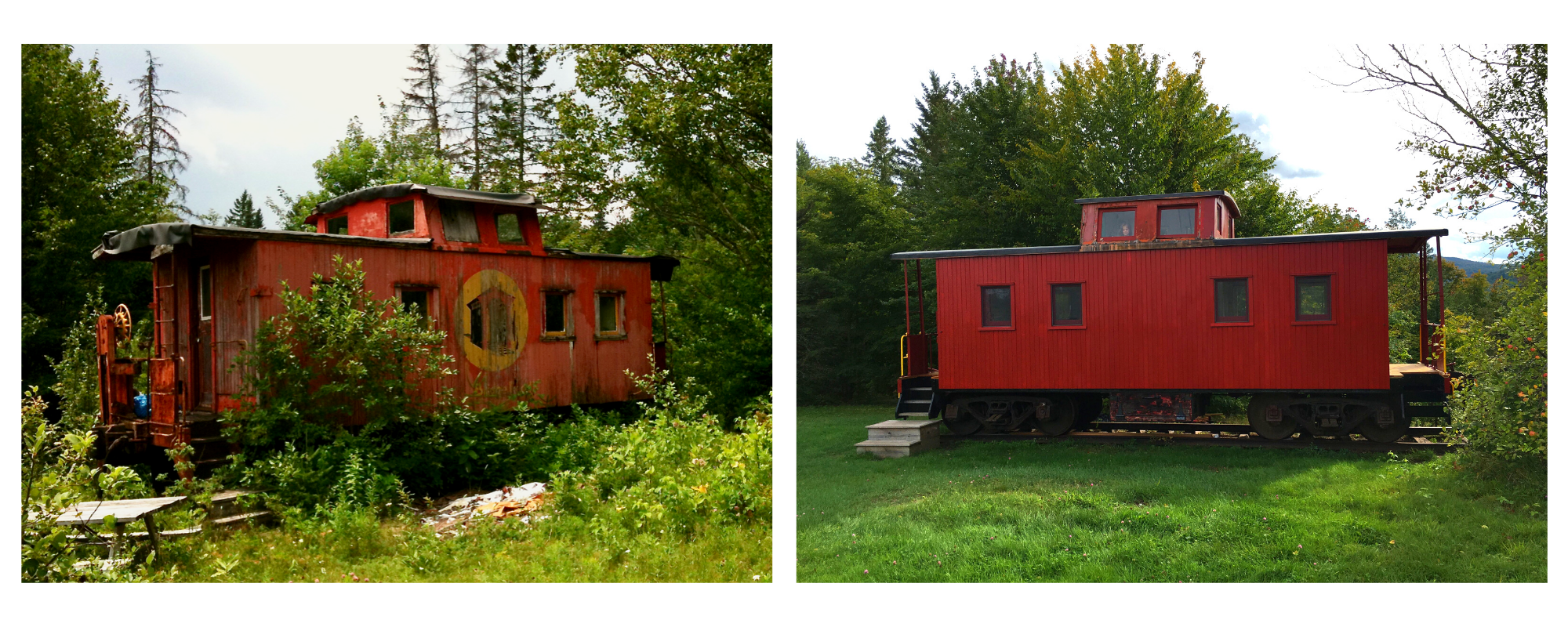 Caboose before and after