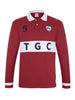 Burgundy & White Long Sleeve Polo