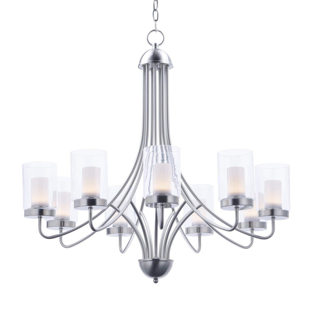 "31"" Candle LED Glass Chandelier 9-Lamp"