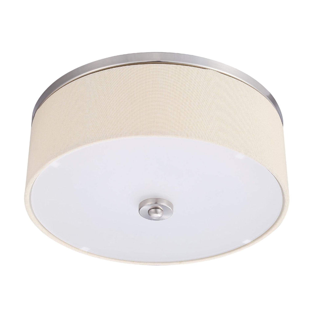"17"" Transitional LED Fabric Flush Mount Integrated LED Fixtures Brused Nickel"