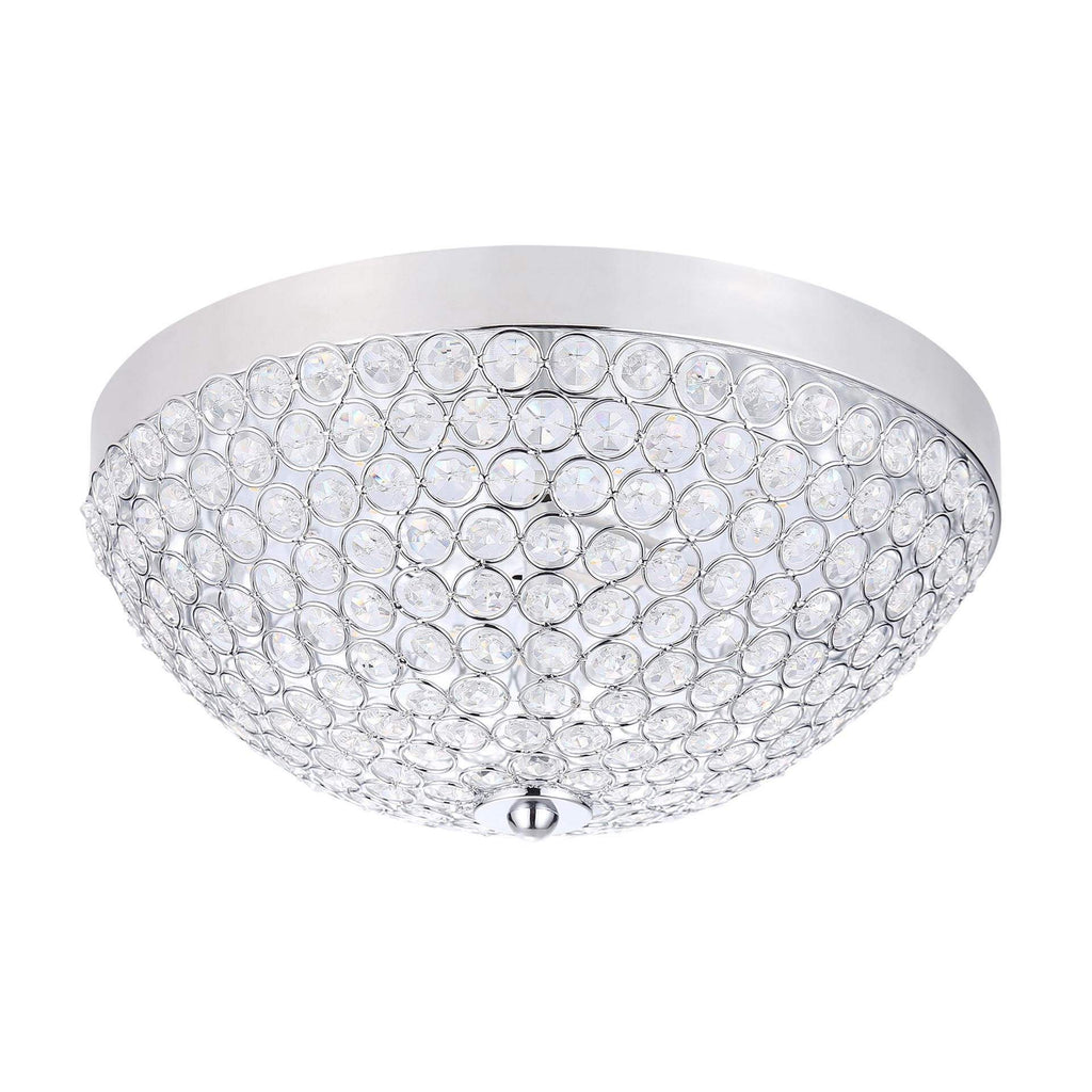 "13"" Beaded Crystal LED Flush Mount Ceiling Fixture"
