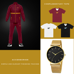 Men's Burgundy and Gold Suit Collection