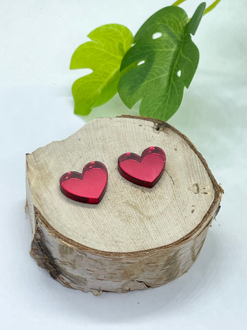 Mirror Red Heart Studs