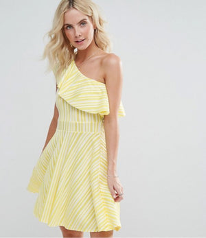 BOOHOO PETITE ONE SHOULDER FRILL ORIGINAL UK BRANDED DRESS