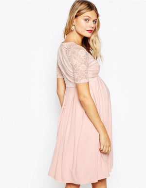 MATERNITY NURSING MIDI  WITH LACE WRAP FRONT NUDE ORIGINAL UK BRANDED DRESS