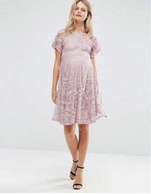 Load image into Gallery viewer, MATERNITY TALL SLEEVE LACE SKATER ORIGINAL UK BRANDED DRESS